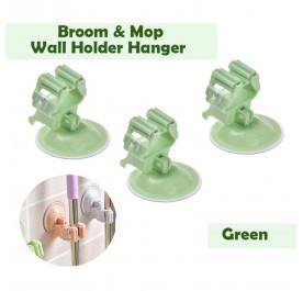 OSUKI Broom and Mop Wall Holder Hanger (Green) (X3)