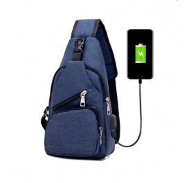 OSUKI Japan Style Multifunction Men Crossbody External USB Charging Port Travel Bag (Dark Blue)