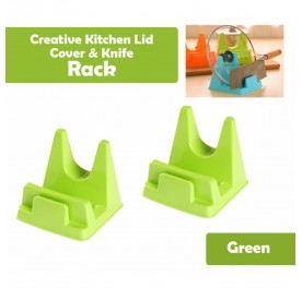 OSUKI Creative Kitchen Lid Cover And Knife Rack (Green) (x2)