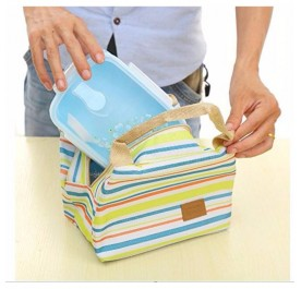 OSUKI Colorful Striped Insulation Lunch Bag (Green)