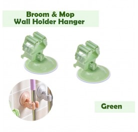 OSUKI Broom and Mop Wall Holder Hanger (Green) (X2)