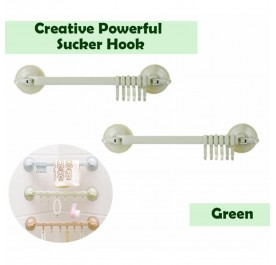 OSUKI Creative Powerful Sucker Hook For Bathroom Wall (Green) (x2)