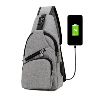 OSUKI Japan Style Multifunction Men Crossbody External USB Charging Port Travel Bag (Grey)