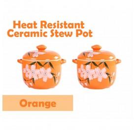 OSUKI Heat Resistant Ceramic Stew Pot (Orange) (x2)