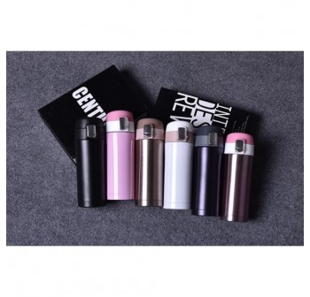 OSUKI 500ml Stainless Steel Bottle Portable Cup Drink Hot or Cold (Black Purplish) (X2)