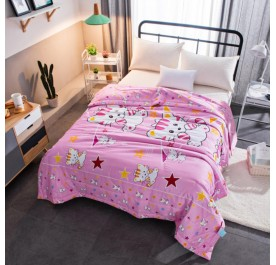 OSUKI Children Cotton Cartoon Blanket (Pink Cat)