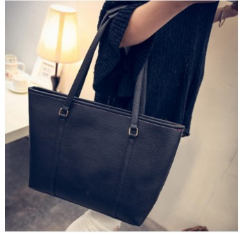 OSUKI Elegant 12217 Leather Shoulder Handbag (Black)