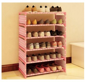 OSUKI Cute and Modernized 6 Layers Multi-store Shoe Rack (Pink)