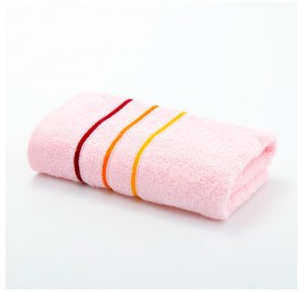 OSUKI Genuine Grace Summer Couple Cotton Face Towel With Color Stripes (Pink)
