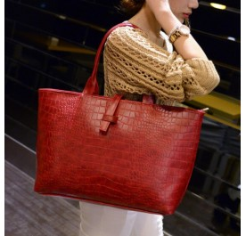OSUKI Elegant 12213 Leather Shoulder Handbag (Red)
