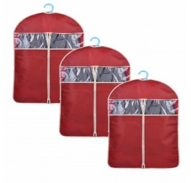 OSUKI Hanging Cloth Dust Cover Garment Bag 60 X 108cm (Red) (x3)