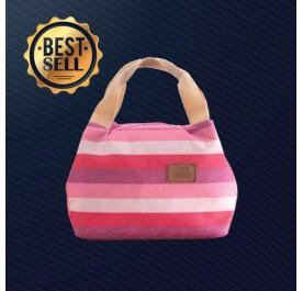 OSUKI Colourful Striped Insulation Lunch Warmer Bag (Red)