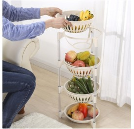 OSUKI Multilevel Fruits or Vegetables Storage Kitchen Rack (White)
