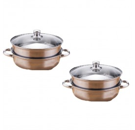 OSUKI Japan High Quality Double Layer Stainless Steel Steam Pot (x2)