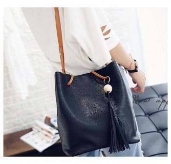 OSUKI Elegant 12218 Leather Shoulder Handbag (Black)