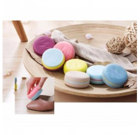OSUKI Portable Macaron Shape Double-Sided Cute Round Candy Color Sponge Shoe Brush  Polisher (Yellow)