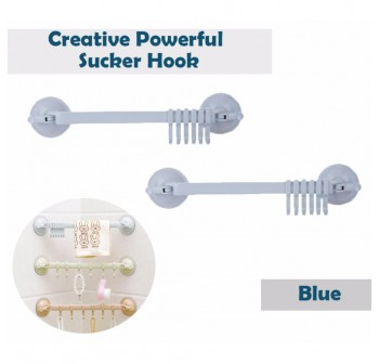 OSUKI Creative Powerful Sucker Hook For Bathroom Wall (Blue) (x2)