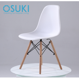 OSUKI Japan Quality Eames Chair White Seat Natural Wood Legs Chair