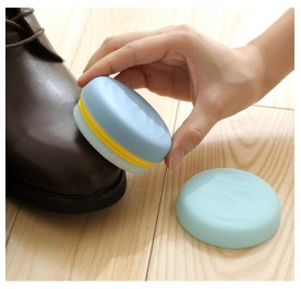 OSUKI Portable Macaron Shape Double-Sided Cute Round Candy Color Sponge Shoe Brush  Polisher (Blue)