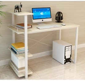 OSUKI Home Office Table 120 x 54 cm With Attached Shelf (Pearl White)