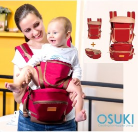 OSUKI Multi Function Baby Carrier with Waist Stool (Red)