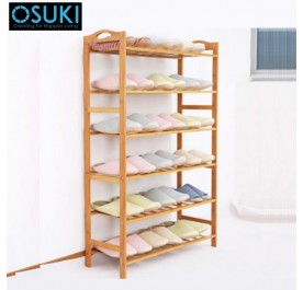 OSUKI Nature Wood Shoe Rack 6 Layer (110 x 80cm)