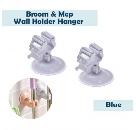 OSUKI Broom and Mop Wall Holder Hanger (Blue) (X2)