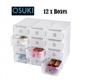 OSUKI Transparent Storage Box Drawer Type Shoe Rack (12 Box - White)