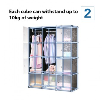 OSUKI Living Cabinet Wardrobe 8 Cubes With 1 Hanger (Wood White)
