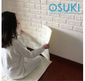 OSUKI 3pcs 77x70cm Extra Thick 3D Wall Stickers Home Decor Wallpaper (Pearl White)