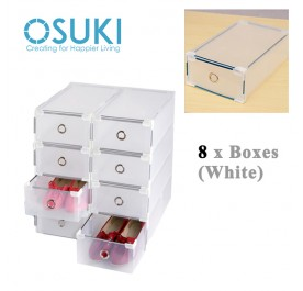 OSUKI Transparent Storage Box Drawer Type Shoe Rack (8 Box-White)