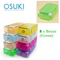 OSUKI Transparent Storage Box Drawer Type Shoe Rack (8 Box-Green)