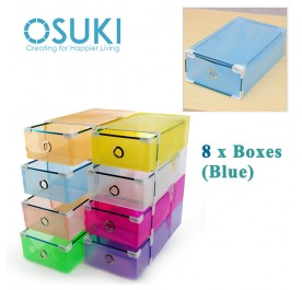 OSUKI Transparent Storage Box Drawer Type Shoe Rack (8 Box-Blue)