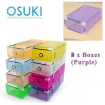 OSUKI Transparent Storage Box Drawer Type Shoe Rack (8 Box-Purple)