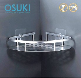 OSUKI Bathroom Corner Shelf Adhesive Aluminium Rack