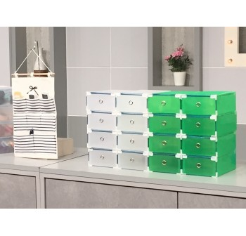OSUKI Transparent Storage 16 Box Drawer Type Shoe Rack (8-White & 8-Green)-FREE Hanger Storage