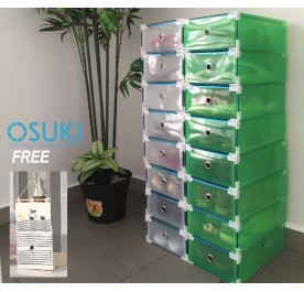 OSUKI Transparent Storage 16 Box Drawer Type Shoe Rack (8-White & 8-Green)-FREE Hanger Storage