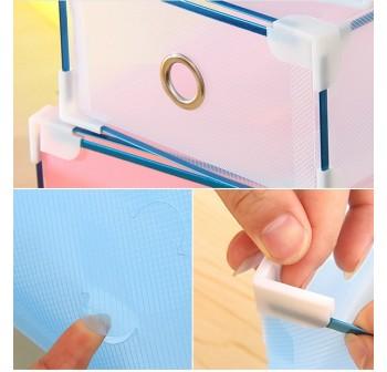 OSUKI Transparent Storage 16 Box Drawer Type Shoe Rack (8-Blue & 8-Purple)-FREE Hanger Storage