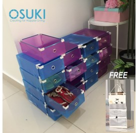 OSUKI Transparent Storage 16 Box Drawer Type Shoe Rack (8-Blue & 8-Purple)-FREE Hanger Storage