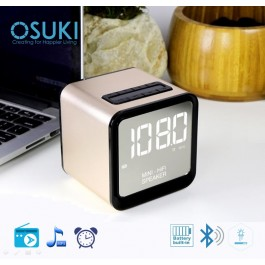 OSUKI Wireless Bluetooth FM Radio Stereo Speaker LED Alarm Clock (Gold)