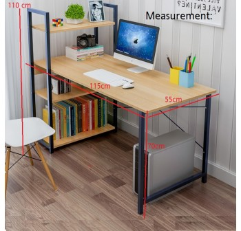 OSUKI Home Office Table 115 x 55cm Attached Bookshelf H115