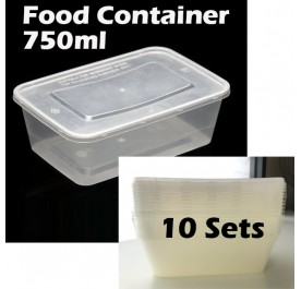 GOOOD Food Container Plastic With Lid Rectangular 10 Set-750ml