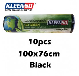 KLEENSO Garbage Bag Dustbin Oxo-Biodegradable 10pcs  100x76cm (Black)