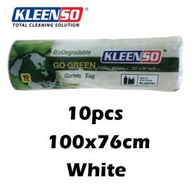 KLEENSO Garbage Bag Dustbin Oxo-Biodegradable 10pcs 100x76cm (White)