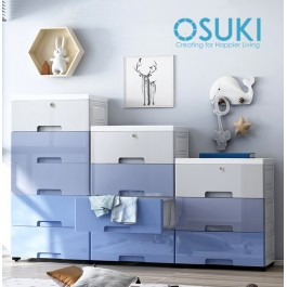OSUKI Drawer 5 Layer Storage Cabinet 45cm Wardrobe With Key Lock