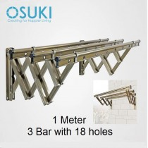 OSUKI Stainless Steel Wall Drying Rack Clothes Hanger With 18 Holes (1M x 3Bar)