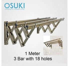 OSUKI Aluminium Wall Drying Rack Clothes Hanger With 18 Holes (1M x 3Bar)