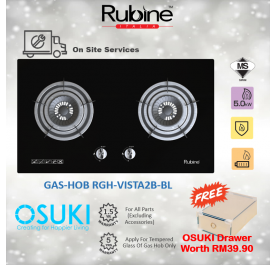 Rubine Gas Cooker Hob RGH-VISTA2B-BL Tempered Glass (FREE OSUKI DRAWER)