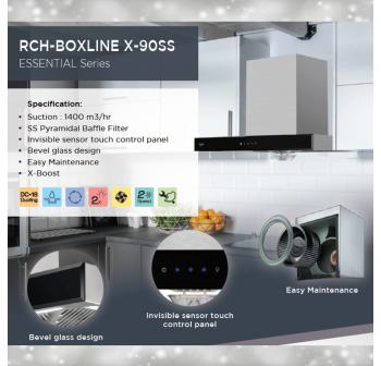 Rubine Gas Cooker Hob RGH-VISTA2B-BL Tempered Glass & RUBINE Cooker Hood RCH-BOXLINE X-90SS T-Hood (FREE OSUKI DRAWER)