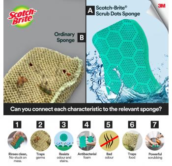 3M Scotch Brite Scrub Dots Heavy Duty Scrub Sponge (2 Pcs/Pack)